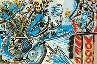"""Картина по номерам """"Цветы и человек с зонтом"""" (400х500 мм)"""