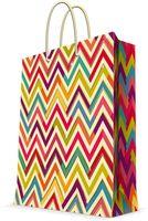 "Пакет бумажный подарочный ""Разноцветный зигзаг"" (26х32,4х12,7 см; арт. 44222)"