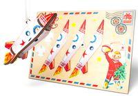 """Деревянная открытка с ёлочной игрушкой """"Ракета"""" (арт. ОД-32)"""