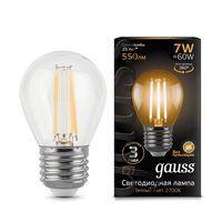 """Лампа светодиодная """"Filament. Шар"""" 7W 550lm 2700К Е27 LED 1/10/50"""
