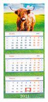 """Календарь настенный квартальный на 2021 год """"Символ года"""" (33х81 см)"""
