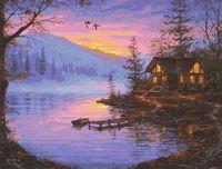 """Картина по номерам """"Закат на озере"""" (400x500 мм)"""