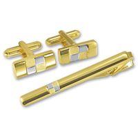 """Набор. Заколка для галстука, запонки (цвет: золотой, серебристый, гравировка """"шашки"""", EG-07834)"""