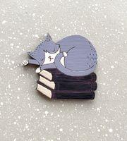 """Брошь """"Кот на книжках спит"""" (арт. 355-2)"""