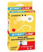 """Мяч для настольного тенниса """"Standart"""" (6 шт.; 2 звезды; белый)"""