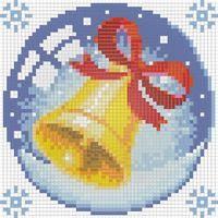 """Алмазная вышивка-мозаика """"Новогодний шарик с колокольчиком"""""""