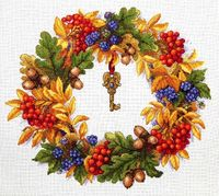"Вышивка крестом ""Осенний веночек"" (280х250 мм)"