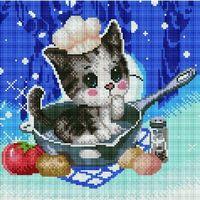 "Алмазная вышивка-мозаика ""Котенок-поваренок"" (300х300 мм)"