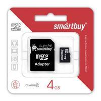 Карта памяти micro SDHC 4Gb SmartBuy Class 4 (с адаптером SD)