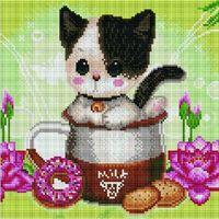"Алмазная вышивка-мозаика ""Котенок в чашке"" (300х300 мм; арт. PD3030003)"