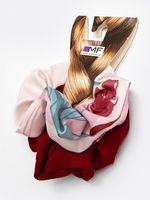 """Набор резинок для волос """"Красный и цветы на бежевом"""" (2 шт.)"""