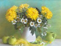 """Вышивка лентами """"Желтые хризантемы"""""""