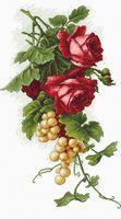 """Вышивка крестом """"Красные розы с виноградом"""" (200х330 мм)"""