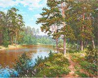 """Вышивка бисером """"Река в лесу"""""""