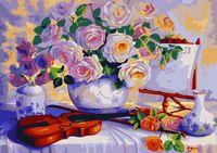 "Картина по номерам ""Натюрморт с цветами и скрипкой"" (500х650 мм)"