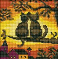 "Алмазная вышивка-мозаика ""Две кошки"" (200х200 мм)"