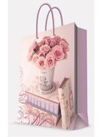 """Пакет бумажный подарочный """"Ваза с розами"""" (17,8х22,9х9,8 см; арт. 44179)"""
