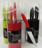 Набор ножей металлических в пластмассовой подставке (5 шт. по 15/19/20/12,5/9,5 см; арт. EZ-NM025)