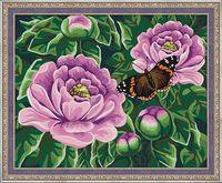 "Картина по номерам ""Бабочка на пионах"" (400х500 мм)"