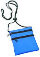Нагрудный кошелек с 2-мя отделениями на молнии и прозрачным карманом (синий)