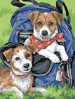 "Картина по номерам ""Щенки в рюкзаке"" (300х230 мм; арт. DMS-91150)"