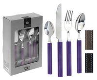 Набор столовых приборов металлических с пластмассовыми ручками (24 предмета, арт. DR7000030)