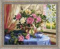 """Картина по номерам """"Розы у окна"""" (400х500 мм)"""