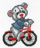 """Вышивка крестом """"Мишка на велосипеде"""""""