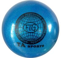 Мяч для художественной гимнастики RGB-102 (15 см; синий с блёстками)