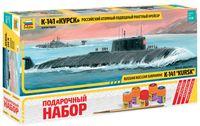 """Сборная модель """"Российский атомный подводный ракетный крейсер К-141 """"Курск"""" (масштаб: 1/350; подарочный набор)"""