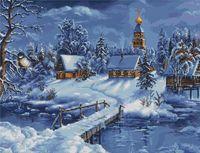 """Вышивка крестом """"Зимний пейзаж"""" (450х340 мм)"""