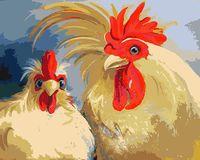 """Картина по номерам """"Кочет и курица"""" (400х500 мм)"""