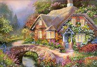 """Канва с нанесенным рисунком """"Мост в цветах"""""""