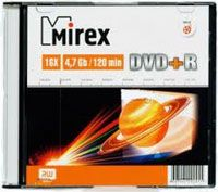 Диск DVD+R 4.7Gb 16x Mirex slim (в упаковке 5 штук)