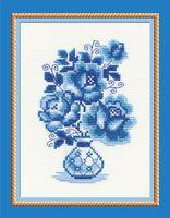 "Вышивка крестом ""Гжель. Розы"" (180х240 мм)"