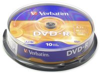 Диск DVD-R 4.7Gb 16x Verbatim CakeBox 10