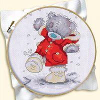 """Вышивка крестом """"Мишка в пальто"""""""