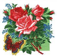"""Вышивка крестом """"Розы с бабочкой"""" (340х340 мм)"""