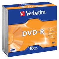 Диск DVD-R 4.7Gb 16x Verbatim slim (в упаковке 10 штук)