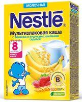 """Детская каша Nestle """"Мультизлаковая с бананом и кусочками земляники"""" (220 г)"""