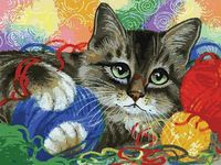 "Картина по номерам ""Котик с клубочками"" (300х400 мм)"