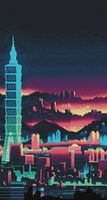 "Алмазная вышивка-мозаика ""Ночной небоскрёб"" (380х700 мм)"