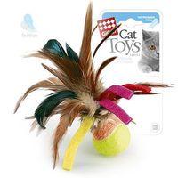 """Игрушка для кошек """"Мячик с перьями"""" (6 см)"""