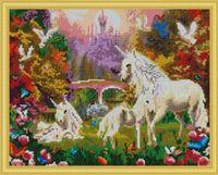 "Алмазная вышивка-мозаика ""Единороги на поляне"" (400х500 мм)"
