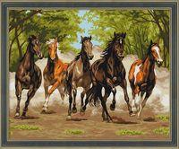 "Картина по номерам ""Табун лошадей"" (400х500 мм)"