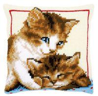 """Вышивка крестом """"Подушка. Котята"""" (400х400 мм)"""