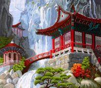 "Вышивка крестом ""Водопад и пагода"" (400x350 мм)"