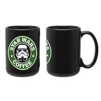 """Кружка большая черная """"Звездные войны. Кофе"""" (арт. 005)"""