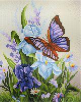 """Алмазная вышивка-мозаика """"Бабочка на ирисах"""" (200х250 мм)"""