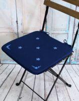 "Подушка на стул ""Незабудка"" (38х38 см; тёмно-синяя)"